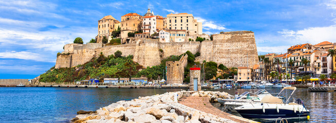 Calvi - panoramic view with fortress. Corsica island, France