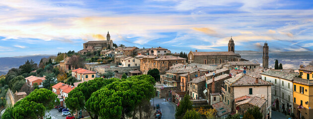 Landmarks of Italy - medieval town Montalcino, famous wine region of Italy