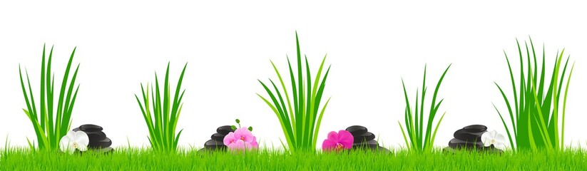 Obraz Grass stones orchid - fototapety do salonu