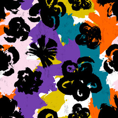 seamless flower pattern background, with paint strokes and splashes, brush strokes