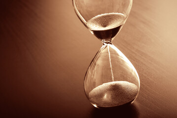 Time past concept with hourglass