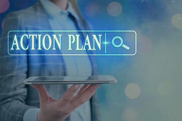 Text sign showing Action Plan. Business photo text detailed plan outlining actions needed to reach goals or vision Web search digital information futuristic technology network connection