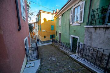 Narrow street of Muggia, Italy