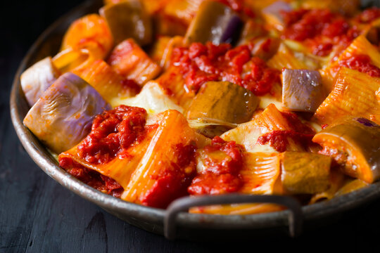 rustic italian baked cheese rigatoni pasta with eggplant and tomato