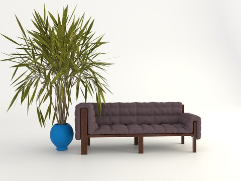 Illustration of a sofa and a tree plant