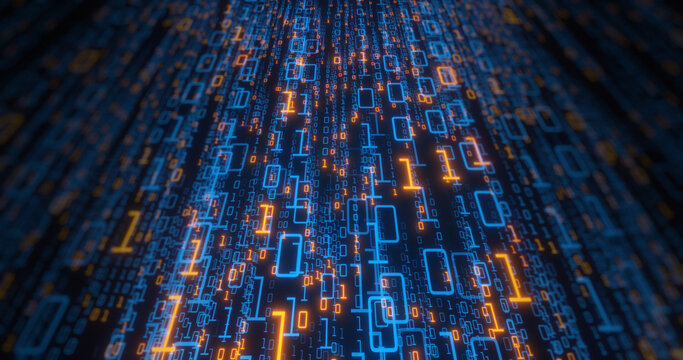 Binary data creating a web of information across the screen and angle. orange and blue digit zero and one rendering a trail of data. High Tech Background. 3D render
