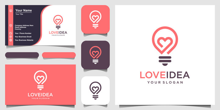 love idea with Bulb lamp and heart logo and business card design vector.