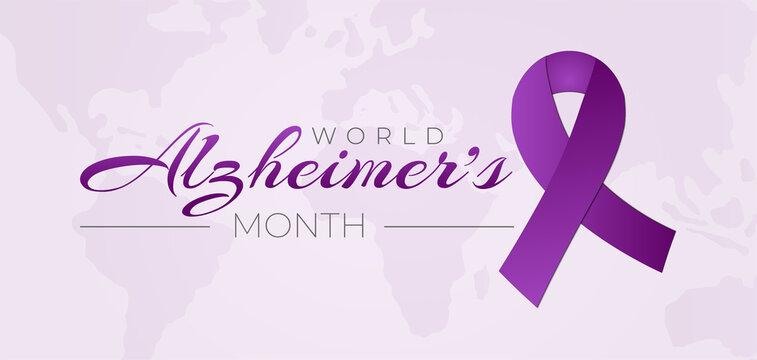 World Alzheimer's Month Background Illustration with Purple Ribbon