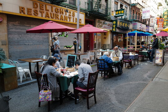 Sept 19, 2020 Outdoor dining with social distancing after re-opening from from lockdown from Covid-19, New York City, USA.