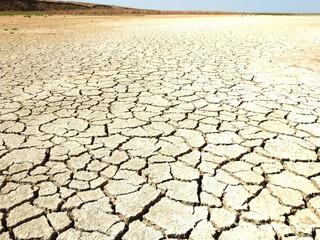 dry bottom of the reservoir