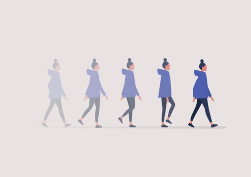 A young female character walking in a blurred motion, an animation sequence