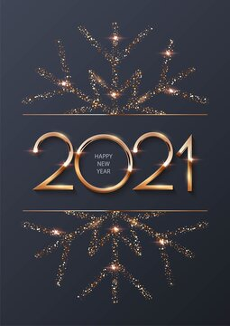 Happy new year 2021 background with gold frame and snowflake. Shining with sparkles numbers and border Christmas card. Greeting festive vector illustration. Merry holiday modern poster design