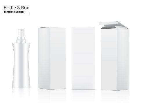 Glossy Pump Bottle Mock up Realistic Cosmetic and 3 Dimensional Box for Whitening Skincare and Aging anti-wrinkle merchandise on White Background Illustration. Health Care and Medical.