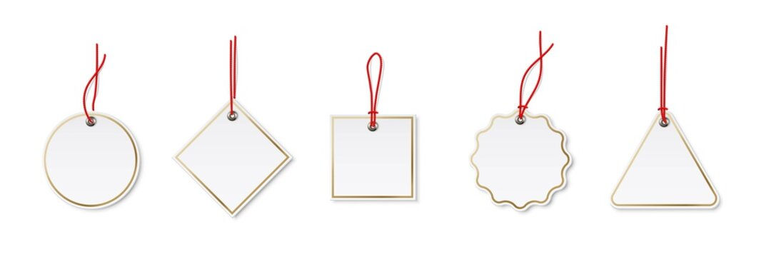 Price or label tags mockup template set. Blank cards with red strings for gifts or sales with different shapes: round, rectangle, square. Empty stickers with gold frames vector illustration