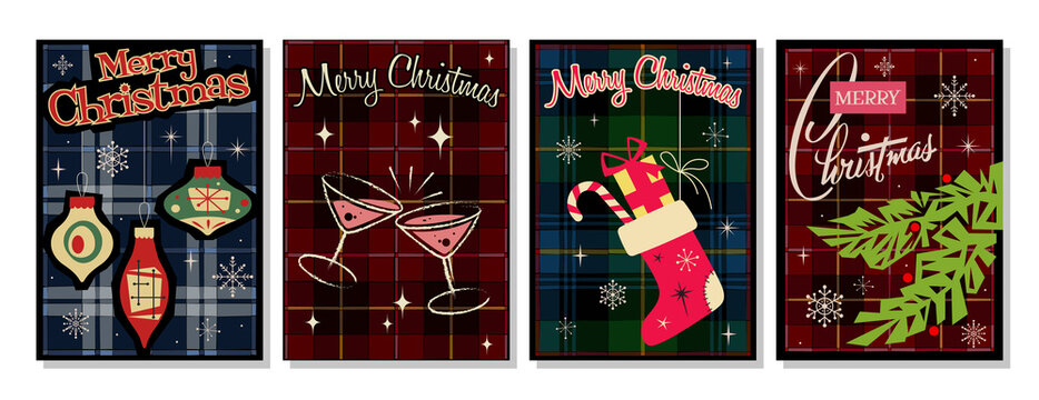 Merry Christmas Cards, Mid Century Modern Noel Greeting Cards Stylization. Christmas Tree, Decorations, Gifts, Santa's Sock, Cocktail Glasses, Plaid Tartan Pattern Backgrounds