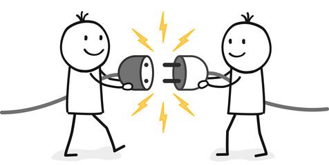 Zwei Strichmännchen stellen eine Verbindung symbolisch über ein Stromkabel her
