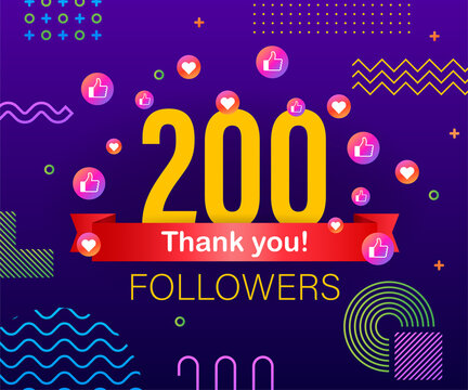 Thank you 200 followers numbers. Congratulating multicolored thanks image for net friends likes.