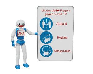 Gebotsschilder für Covid-19. Roboter zeigt auf ein Schild Mit den AHA-Regeln (Abstand, Hygiene, Alltagsmaske) gegen Corona. 3d Rendering