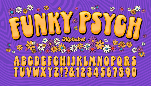 Funky Psych is a late 1960s or early 1970s fun and humorous psychedelic lettering style, enhanced with flower designs and a striped background