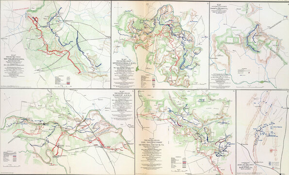 Map of battles of the Wilderness, Spotsylvania and North Anna, 1