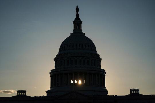 Sunlight shines through the U.S. Capitol in Washington