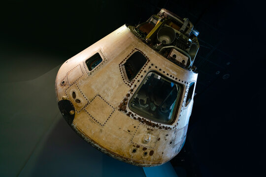 Washington DC, USA - May 18, 2018: Close-up of the Apollo command module on display at the National Air and Space Museum