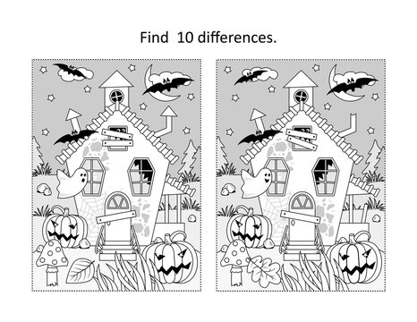 Find 10 differences visual puzzle and coloring page with Halloween haunted house