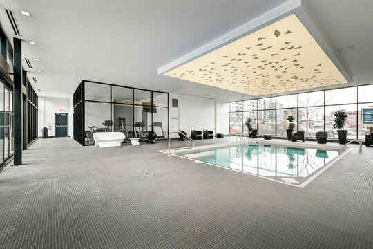 Real estate photography - Beautiful modern apartment in an apartment building with bathroom, kitchen, swimming pool