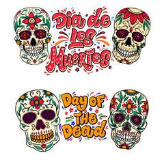 Dia de los muertos (Day of the dead). Lettering phrase with sugar skulls illustrations.  Design element for flyer, emblem, sign, poster, card, banner. Vector illustration