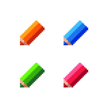 Pixel colorful pencils icons. 8-bit sprites. Isolated vector illustration.  Old school computer graphic style.
