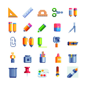 School stationery pixel art icons set. Design for mobile app, web, logo.  Isolated vector illustration. Office equipment, education and training. Game assets 8-bit sprite sheet.