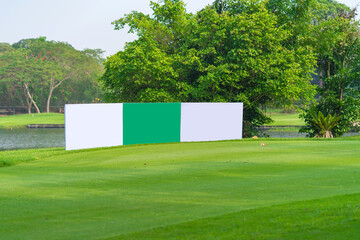 Fototapeta Mockup image of Blank billboard white screen posters billboard for advertising Sponsor in Golf course activity