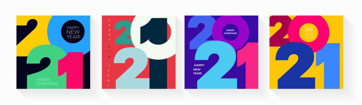 Set of creative concept Happy New Year of 2021 posters. Design templates with typography logo for celebration and season decoration. Vector illustration minimalistic trendy for branding, banner, cover