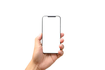 male hand holding phone isolated on white, mock-up smartphone blank screen with clipping path