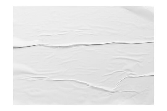 white horizontal paper wrinkled poster  template , blank glued creased paper sheet mockup with clipping path
