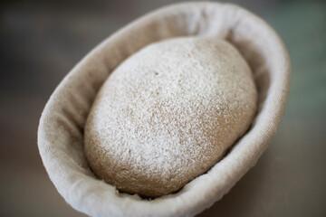 Rye bread dough in proof basket