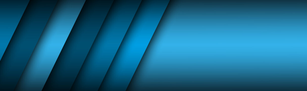 Abstract header with blue layers above each other. Modern design banner for your business. Vector illustration with oblique stripes and lines
