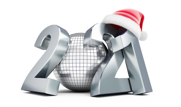 New Year 2021 santa hat Disco ball on a white background 3D illustration, 3D rendering