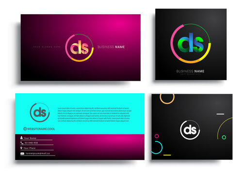 Letter DS logotype with colorful circle, letter combination logo design with ring, sets of business card for company identity, creative industry, web, isolated on white background.