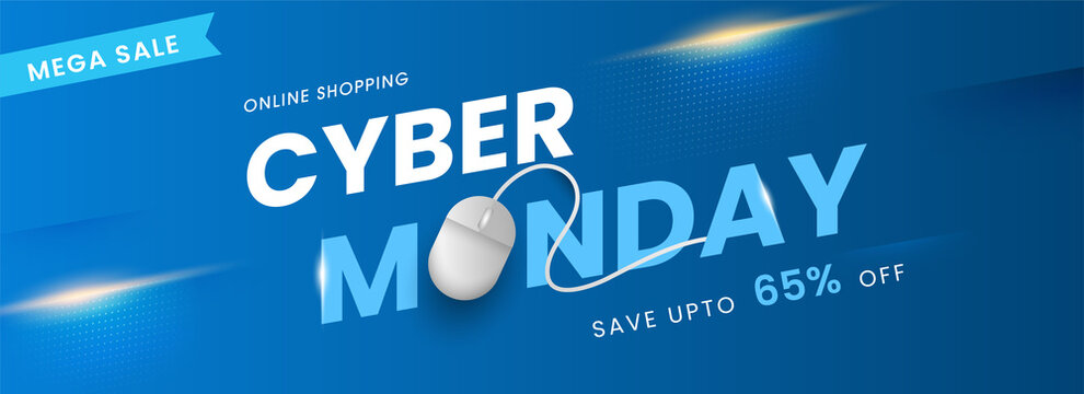 Online Shopping Cyber Monday Text with Realistic Mouse and 65% Discount Offer on Blue Background for Mega Sale.