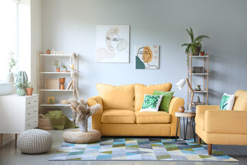 Wall Mural - Interior of modern room with comfortable sofa