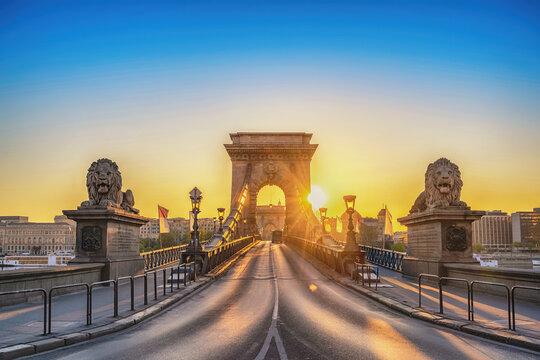 Budapest Hungary, city skyline sunrise at Chain Bridge with famous lion statue