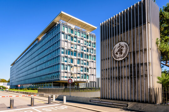 Geneva, Switzerland - September 3, 2020: General view of the headquarters of the World Health Organization (WHO), a specialized agency of the United Nations responsible for international public health