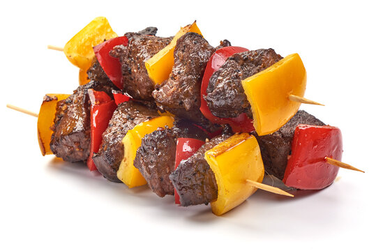 Grilled beef meat kebab, barbecue skewers, isolated on white background