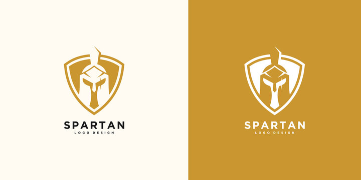 spartan logo and vector design helmet and head