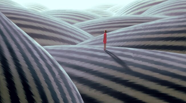 Surreal artwork of lonely woman