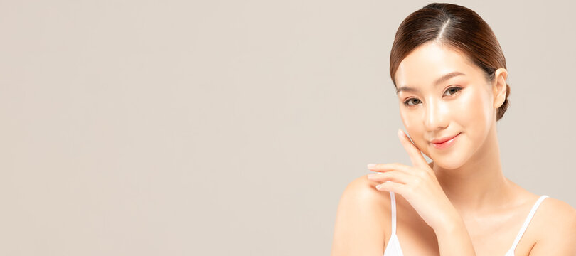 Beauty asian women portrait face with skin care healthy and skin.