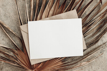 Papiers peints Fleur Summer stationery still life. Closeup of blank card mock-up and craft envelope on dry palm leaf. Grunge beige concrete background. Flat lay, top view. Tropical vacation concept. Moody boho design.