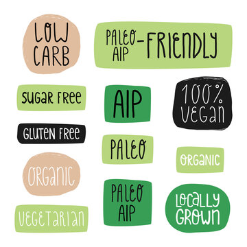 Special diet nutrition and healthy food stickers. AIP and paleo-friendly, 100 percent vegan, sugar free, low carb, etc.