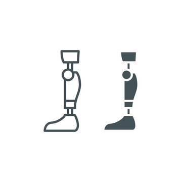 Leg knee prosthesis line and glyph icon, orthopedic and medical, prosthetic leg sign, vector graphics, a linear pattern on a white background, eps 10.